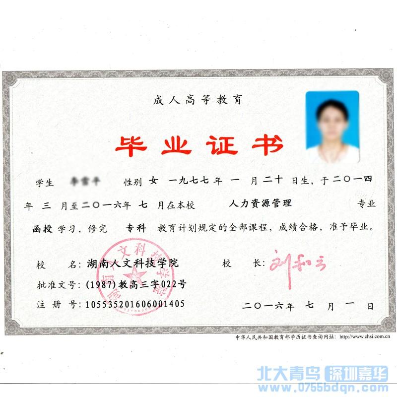 湖南人文科技学院专科学历证书